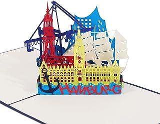 "3D KARTE""Hamburg Skyline"" in blau I Pop Up K"
