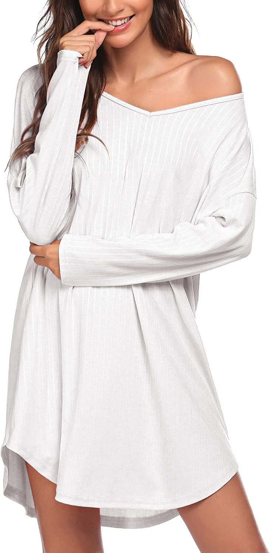 Ekouaer Womens Long Sleeve Nightgown V-Neck Casual Sleepwear Drop Shoulder Loungewear Soft Boyfriend Sleep Shirts S-XXL