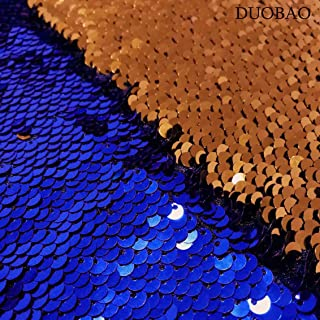 DUOBAO Sequin Fabric by The Yard Royal Blue to Orange Reversible Sequin Fabric Mermaid Flip Sequins Fabric by 2 Yards Two Tone Sequin Fabric for Wedding Party