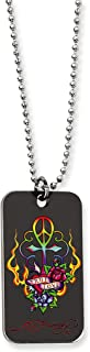 Ed Hardy Love Peace Cross Dog Tag Painted Necklace Stainless Steel