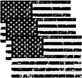 Creatrill Reflective Distressed Subdued American Flags Decal Matte Black – 3 Packs 3x5 in. Tactical Military Tattered USA Flag Stickers for Cars and Trucks, Hard Hat or Lunch Box