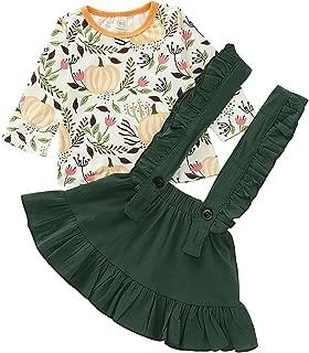bilison Halloween Thanksgiving Toddler Baby Girl Skirts Sets Pumpkin Long Sleeve Top + Ruffle Strap Suspender Dress Outfits