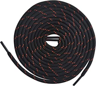 LARGERED Round Work Boot Laces Heavy Duty,Durable Shoelaces for Hiking,Walking,Outdoor Boots and Steel Toe Cap Boots,Repla...