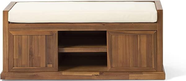 Becky Modern Acacia Wood Storage Bench With Cushion Teak And Beige