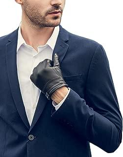 Men's Touchscreen Warm Fleece Fur Lined Sheepskin Leather Gloves