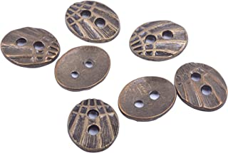 KONMAY 50pcs Buttons with Two Hole for Wrap Bracelets Jewelry Making Fits 1.5mm and 2.0mm, Antique Brass