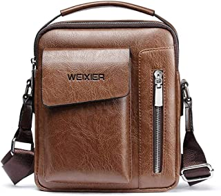 Genuine Leather Men Messenger Bag Shoulder Bags for Mens Everyday Casual Handbag (brown)