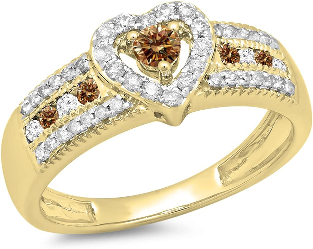 Dazzlingrock Collection 0.55 Carat (ctw) 10K Gold Round Champagne & White Diamond Bridal Heart Promise Engagement Ring 1/2 CT