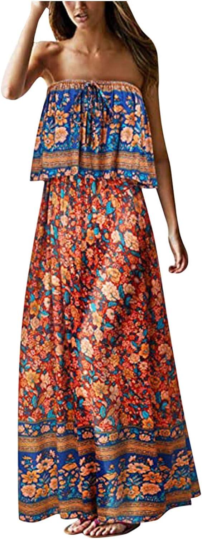 NLLSHGJ Maxi Dresses for Women Summer Blue and White Porcelain Strapless Boho Maxi Long Dress