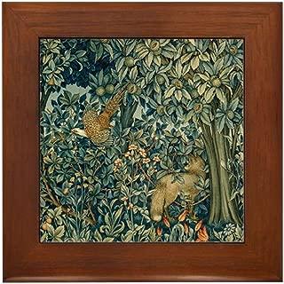CafePress William Morris Greenery Framed Tile, Decorative Tile Wall Hanging