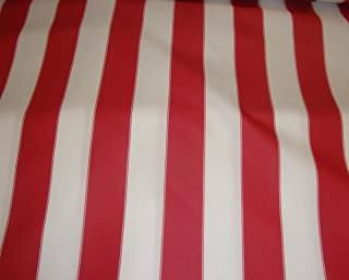 "LUVFABRICS Red White Waterproof Outdoor Canvas Fabric 60"" 600 Denier Wide Per Yard"