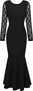 Women's Vintage Long Sleeve Lace Gown Fishtail Evening Bodycon Maxi Party Dress