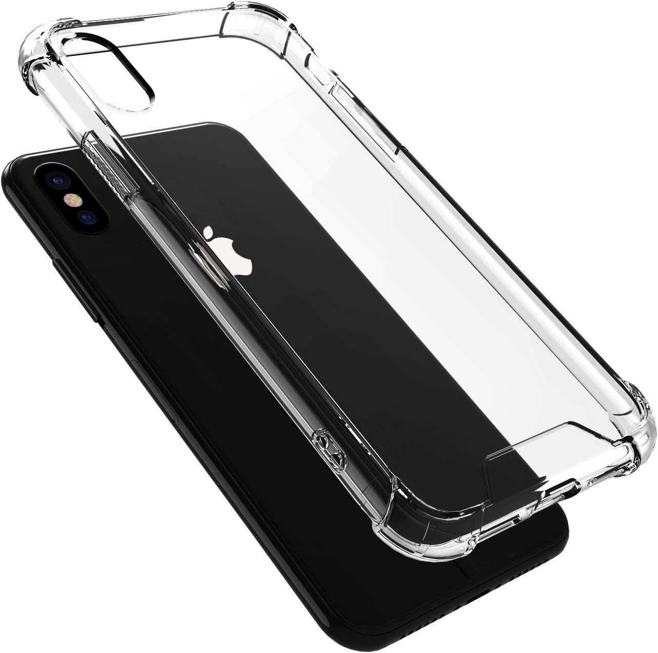 iATO Crystal Clear Case for iPhone X - Transparent Protective Shock Absorption Cover - Soft Flexible Slim TPU & Hard PC Back Snap on Thin Bumper for iPhone X / 10 (2017) | Supports Wireless Charging