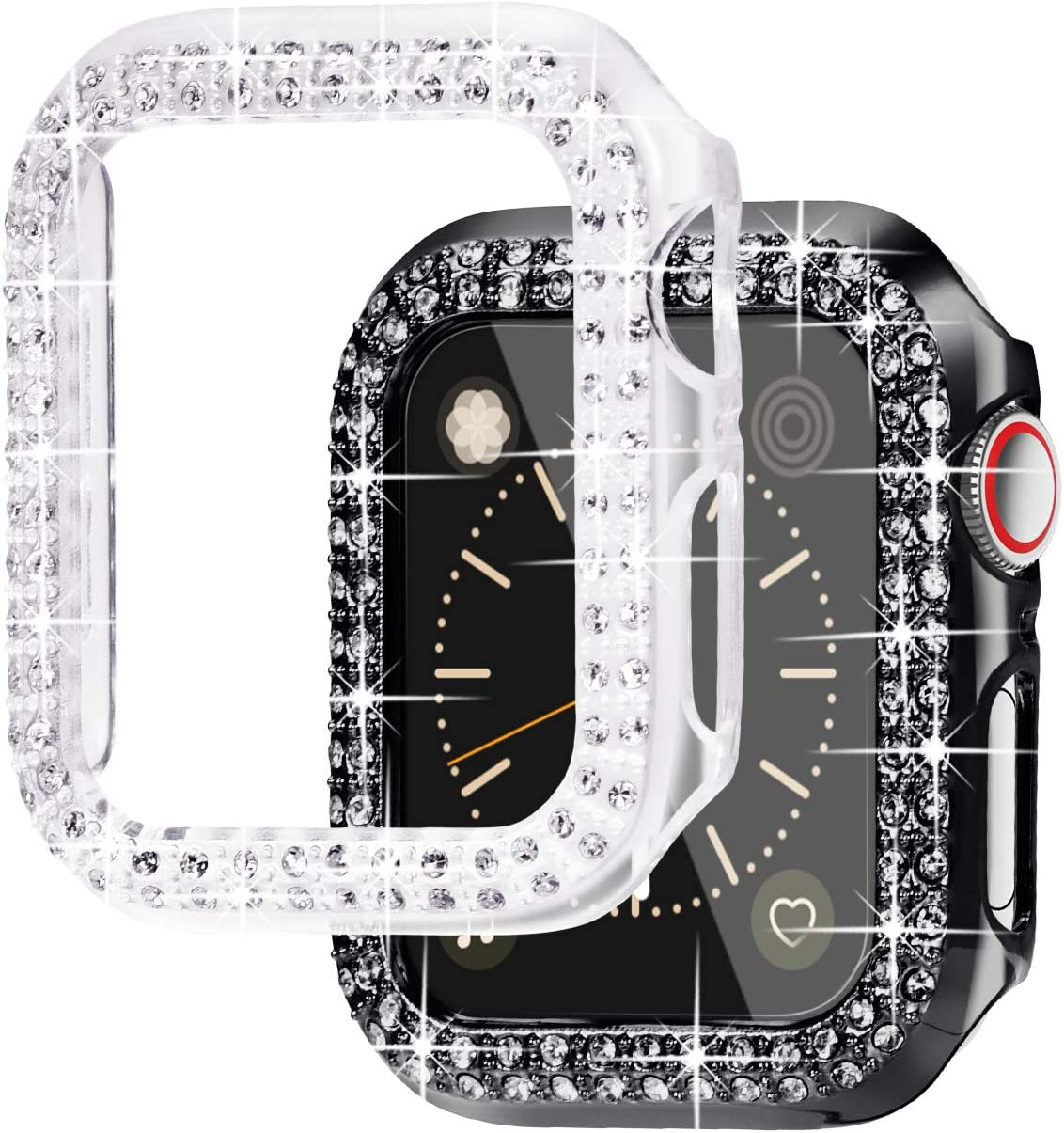 NewWays 2-Pack Bling Cases Compatible for Apple Watch 38mm 40mm 42mm 44mm, Protective Bumper for iWatch SE Series 6 5 4 3 2 1 (40mm, Black/Clear)