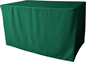"""LA Linen Polyester Poplin Fitted Tablecloth, 48""""L x 30""""W x 30""""H, Teal"""