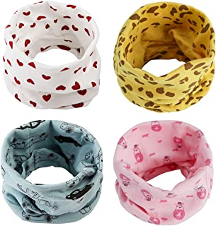 ANSUG 4 pezzi Sciarpa Scaldacollo in cotone, Multiuso Sciarpa Caldo Cappello del Cotone Sciarpa O-Scaldacollo Loop per Bam...