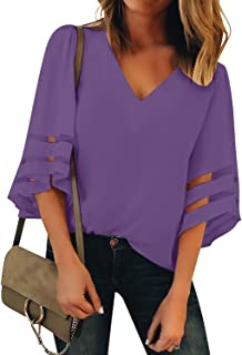 LookbookStore Women's Casual Cute V Neck Mesh Panel Blouse 3/4 Bell Sleeve Loose Top Shirt Purple Size X-Large
