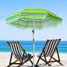SNAIL Beach Umbrella Sand Anchor with Tilt Aluminum Pole, Portable UV 50+ Protection Beach Umbrella with Carry Bag for Outdoor Patio, Yellow/Blue