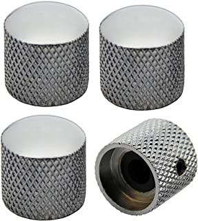 Musiclily Metric Heavy Metal Knurled Dome Control Knobs for Fender Telecaster Electric Guitar or Precision Bass, Chrome(Pack of 4)
