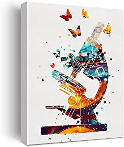 Microscope Art Watercolor Poster Canvas Wall Art for Home/Office/Lab Decor - Science Canvas Print Wall Art Painting Ready to Hang Microbiologist Gifts - Easel & Hanging Hook 12x15 Inch