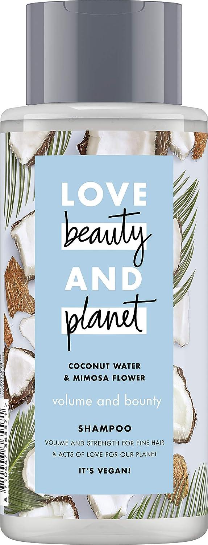 Love Beauty And Planet - Champú Volume & Bounty para pelo fino, con agua de coco y flor de mimosa, sin silicona, 1 unidad (400 ml)