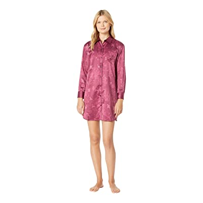 LAUREN Ralph Lauren Tonal Satin His Shirt Sleepshirt (Red) Women