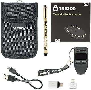 Trezorブラックビットコイン財布バンドルwith vuviv RFIDポーチ、2vuviv Greater接続用USBアダプタ& 1Sakuraアーカイブインクペンfor Recoveryシードシート(5Items)