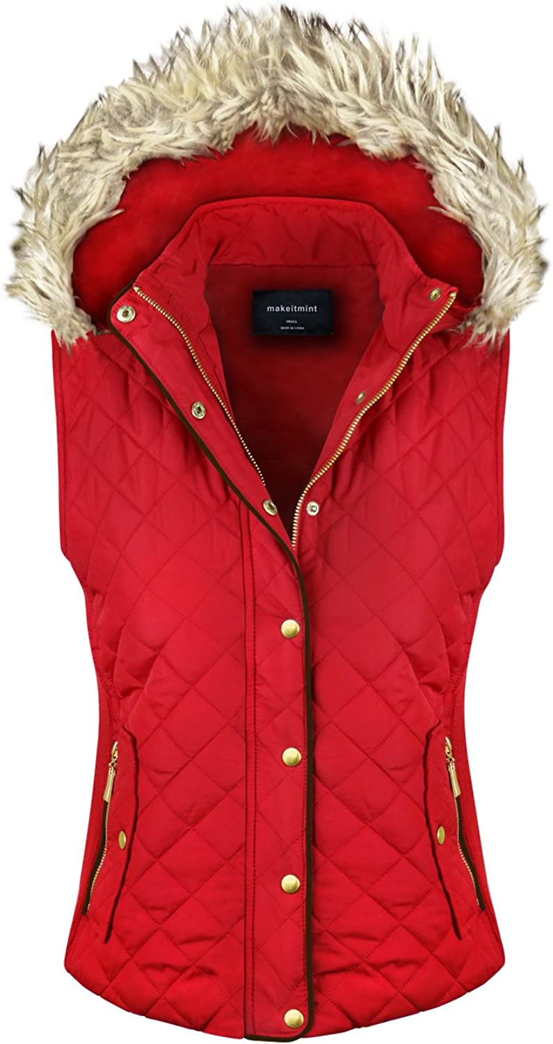 Makeitmint Women's Quilted Padding Jacket Vest with Faux Fur Hood