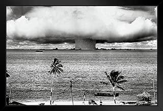 Pyramid America Atomic Bomb Mushroom Cloud Nuclear Weapon Explosion History B&W Photograph Photo Black Wood Framed Art Poster 14x20