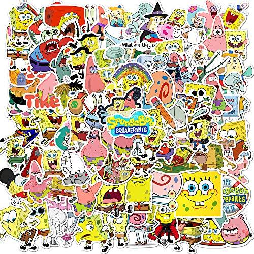 SHUYE Pegatinas animadas de Bob Esponja, Pegatinas de Dibujos Animados, Maleta, portátil, Anti-batería, Pegatinas para Casco de Coche, 100 Hojas