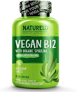 NATURELO Vegan B12 with Organic Spirulina - Best Natural Supplement for Energy, Metabolism and Stress - High Potency 1000 mcg B12 (Methylcobalamin) - Non GMO, Gluten Free - 90 Tablets