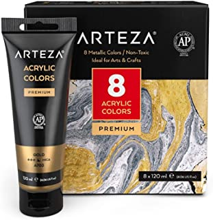 Arteza Metallic Acrylic Paint, Set of 8 Metallic Colors in 4.06oz Tubes, Rich Pigments, Non Fading, Non Toxic Paints for A...