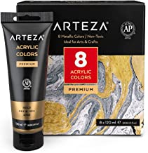 ARTEZA Metallic Acrylic Paint, Set of 8 Metallic Colors in 4.06Oz Tubes, Rich Pigments, Non Fading, Non Toxic Paints for A...