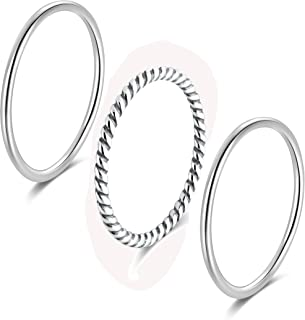 925 Sterling Silver Stacking Minimalist Midi Above Knuckle Pinky Finger Rings Bands 3pcs Set