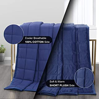 Haowaner Reversible Weighted Blanket Cool Cotton Top+Soft Minky Bottom, 7lbs Plush Weighted Blankets, Premium Cozy Fleece ...