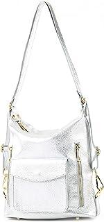 modamoda de - T174 - ital Damen Rucksack Tasche 2in1 aus Leder