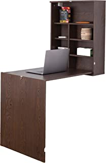 Basicwise QI003558.B Wall Mount Laptop Fold-Out Desk with Shelves, Brown,