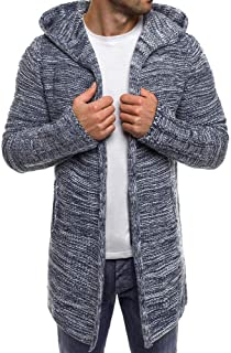 Men's Knit Cardigan Coat Hooded Solid Trench Jacket Long Sleeve Outwear Blouse Beautyfine