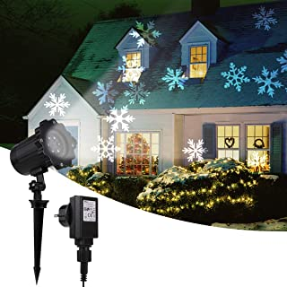 Christmas Projector Lights, Greenclick LED Rotating White Snowflake Projector Light Outdoor Indoor Decorative Lighting Landscape Lights for Christmas Xmas Holiday Halloween Party