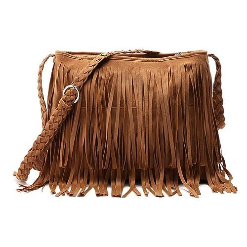 e6e0ad203e Aivtalk Womens Retro Vintage Fringe Tassel Shoulder Bag Handbags Messenger  Bag-Brown