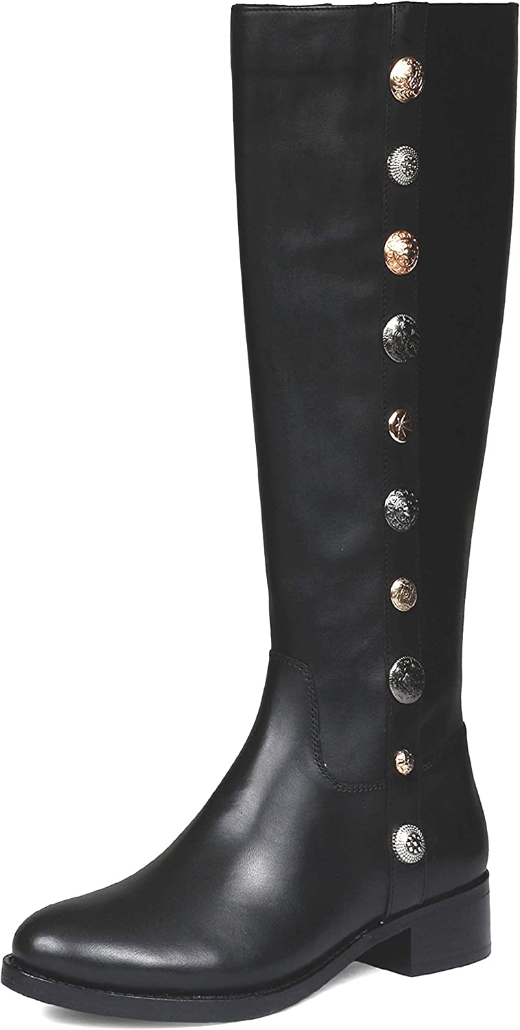 SaintG Womens Black Limited time trial price Regular store Leather Metal Studedd Buttons Long Knee Boot
