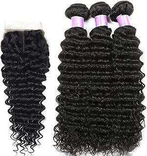 Hair Deep Wave Human Hair Bundles 4 pcs/lot Brazilian Weave Bundles,18 18 18, Closure16