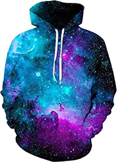 Unisex Hoodies 3D Print Galaxy Pullover Hooded Sweatshirt Hoodies with Big Pockets