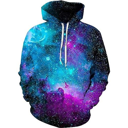 f85511ea2f12 sanatty Unisex Realistic 3D Print Galaxy Pullover Hooded Sweatshirt Hoodies  with Big Pockets
