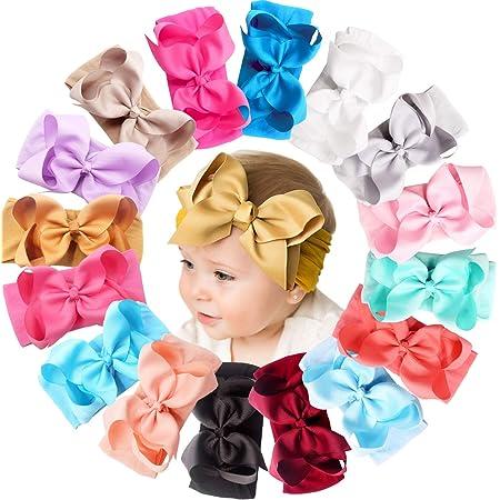 Baby girl nylon headband {Pink Rosette} bitsy knot bow