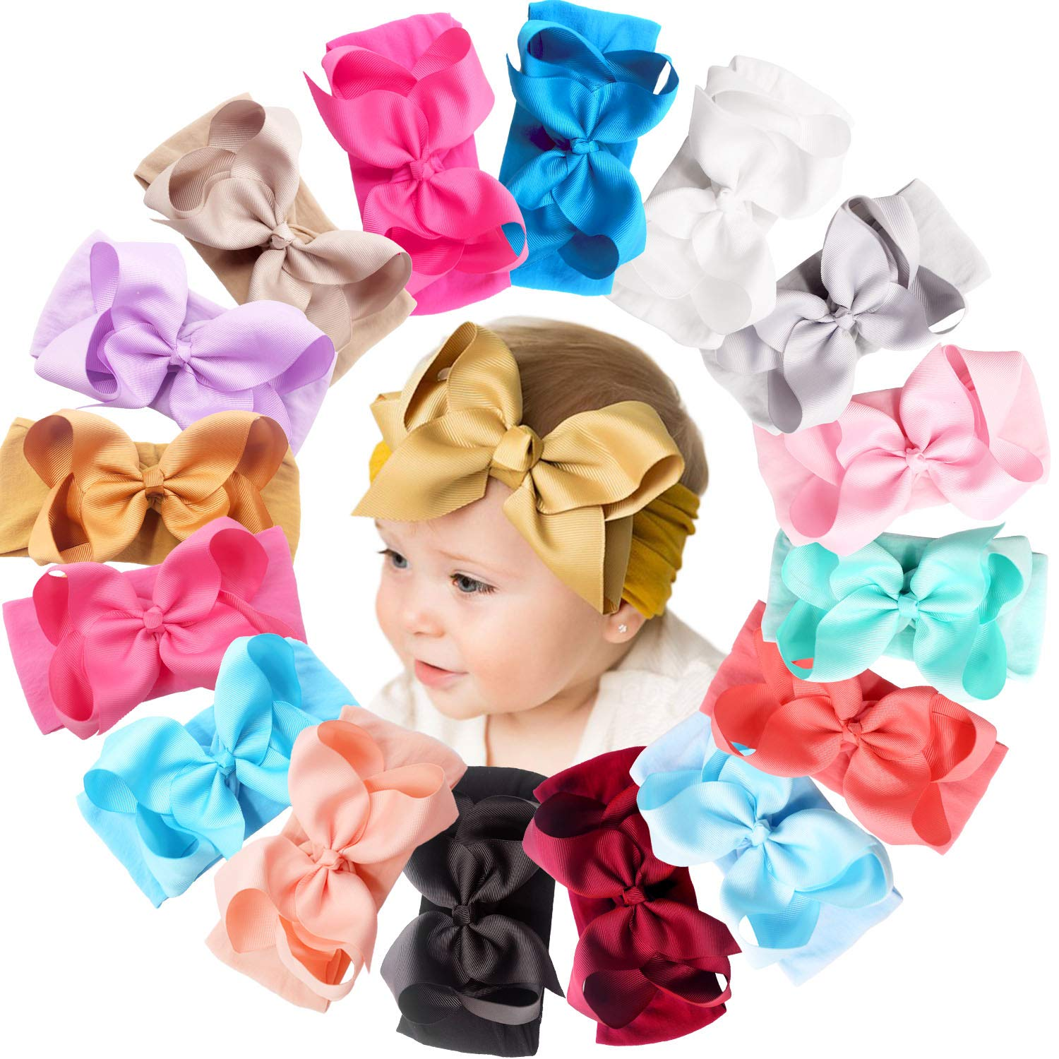 16 Colors Baby Sales for sale Nylon Knotted Headbands Hair Big 6 lowest price inches Girls B
