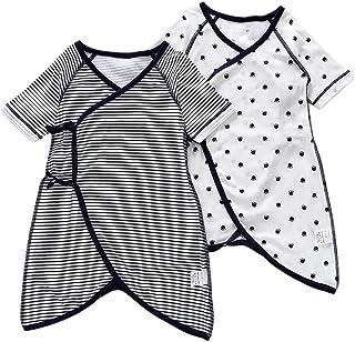 Baby nest 新生児肌着 2枚組 コンビ肌着 短肌着 綿100% 前開き 通年素材 新生児服 ベビー服 ストライプ 水玉 ネイビー 73(6-9ヶ月)