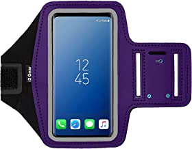 i2 Gear Cell Phone Armband Case for Running - Workout Phone Holder with Adjustable Arm Band and Reflective Border - Large Armband for iPhone X XS Galaxy S9, S8, S7, Edge, LG and Pixel 2, 3, Purple