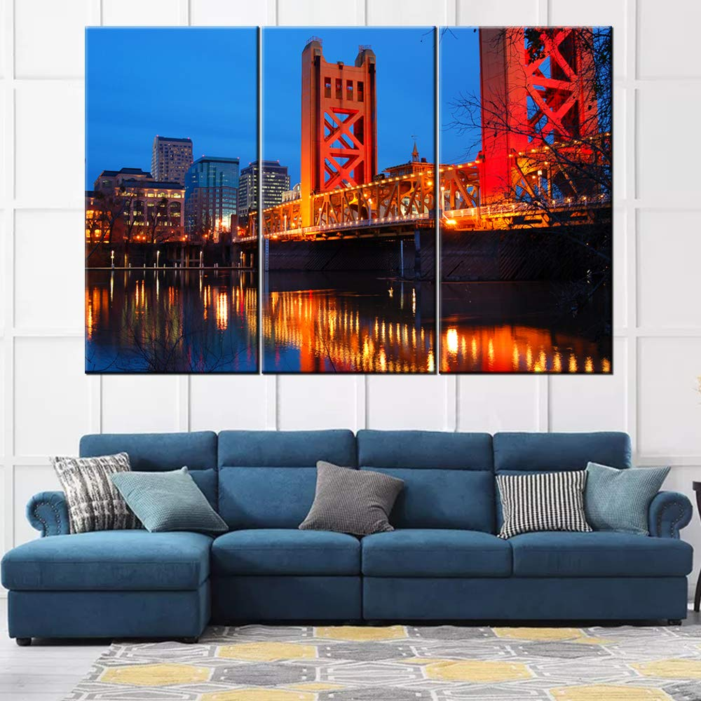 3 Piece Canvas Wall Art The Tower Bridge Crosses The Sacramento River In The Heart Of Downtown Sacramento California Modern Home Decor Stretched And Framed Ready To Hang
