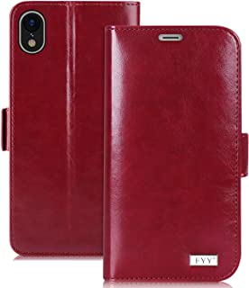 FYY [Premium Leather Wallet Case for Apple iPhone Xr 6.1 inch 2018, Handmade Flip Folio Wallet Case with Kickstand Card Slots Magnetic Closure for Apple iPhone Xr 6.1 inch 2018 Wine Red